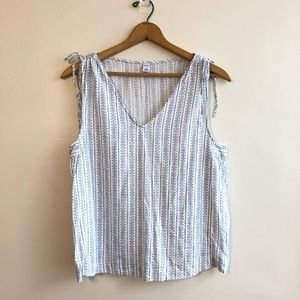 Old Navy blue + white printed tie strap tank top